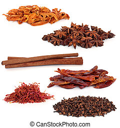 Spice Selection - Spices selection of cloves, saffron, ...
