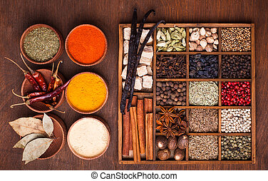 Spice set - Different types of spices in wooden box