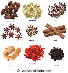 Spice Set - Set of nine spices isolated on white