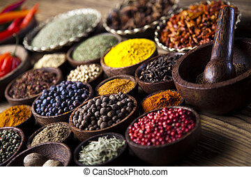 Spice Still Life, wooden bowl