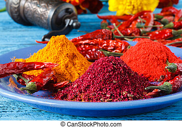 Spice. Various Spices over Wooden Background. Saffron, turmeric, curry
