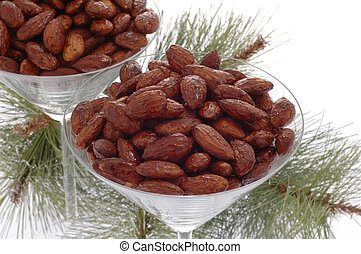 Glasses filled with delicious roasted and spiced almonds.