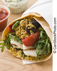 Spiced Cous Cous And Grilled Halloumi Tortilla Wrap