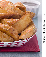 Spiced Potato Wedges With Barbeque Sauce