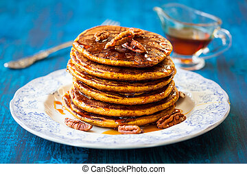 Pumpkin pancakes - Spiced Pumpkin pancakes with maple syrup ...