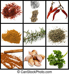 spices and condiments collage - a collage of nine pictures...