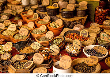 spices and herbs at a street market