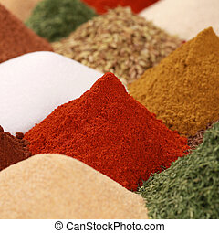 Spices and herbs on a bazaar - Colorful spices and herbs ...