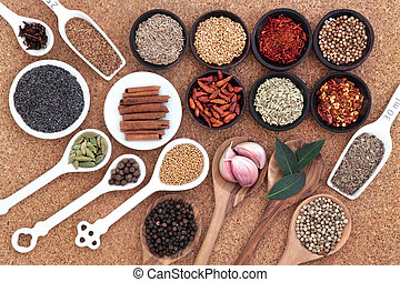 Spices and Herbs - Spice and herb selection spoons, bowls ...