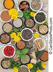 Spices and Herbs - Spices and herb selection used in natural...
