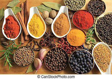 Spices and herbs - Various spices selection. Food...