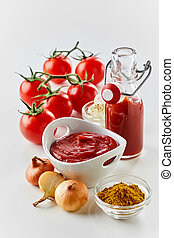 Spices and ingredients for fresh homemade ketchup