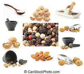 Spices and nuts background. Big collection of nuts, spices and kitchen utensil