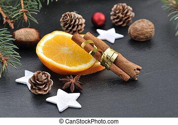 spices and orange slices