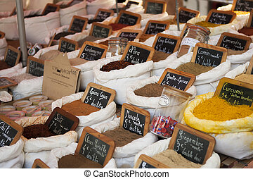 Spices at a market in Saint Tropez, France