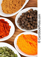 Spices background - Assortment of spices in the spoons for...