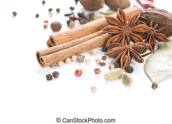 Spices Border. Isolated On White