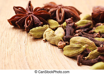 Spices cardamom anise stars and cloves