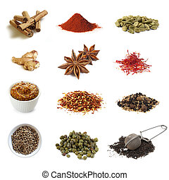 Collection of spices, isolated on white. Includes cinnamon, paprika, cardamom, ginger, star anise, saffron, mustard, chili flakes, pickling spices, coriander, capers, and black tea.
