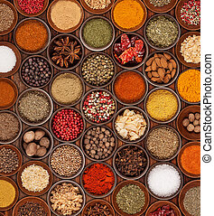 Spices collection - Various kinds of spices on wooden table