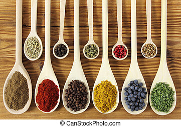 Spices - Colorful spices in wooden spoons - beautiful...