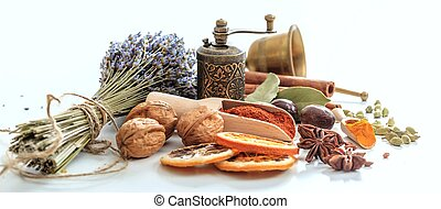 Spices composition on white background