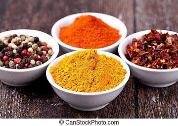 Spices Curry, Peppers Mix and paprika in in ceramic bowl