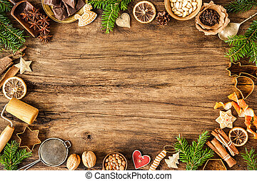 Spices for Christmas cakes - Baking concept background with...