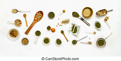 spices for health on white background.
