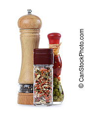 Spices for meal preparation  on white background