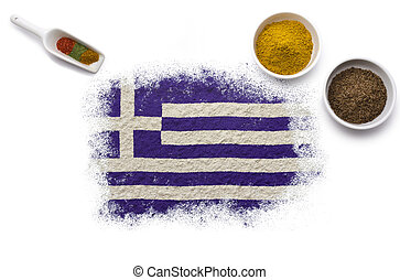 Spices forming the flag of Greece.(series)