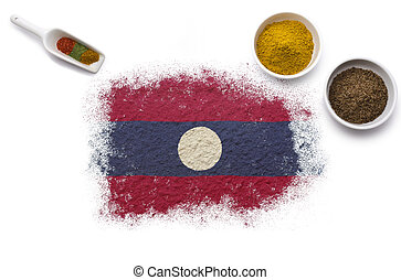 Spices forming the flag of Laos.(series)