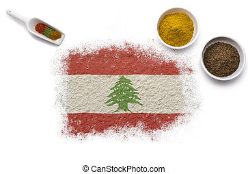 Spices forming the flag of Lebanon.(series)