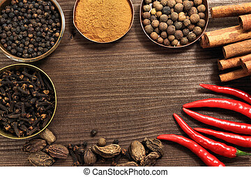 Spices frame in vintage style. Various kinds of whole spice...