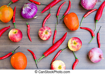 spices fruits vegetables background set