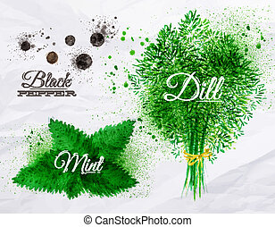Spices herbs watercolor black pepper, mint, dill - Spices...