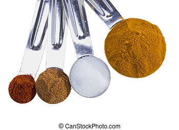 Spices in measuring spoons.