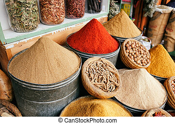 Spices in the market of Marrakech, Morocco.
