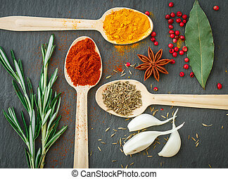 Spices in wooden spoons on the table - paprika, turmeric, cumin, star anise, garlic, rosemary, pepper, Bay leaf
