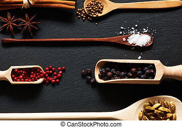 Spices in wooden utensils