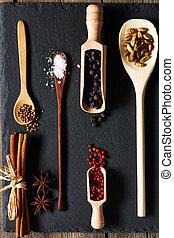 Spices in wooden utensils