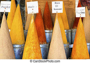 Spices on a market in Morocco, Africa