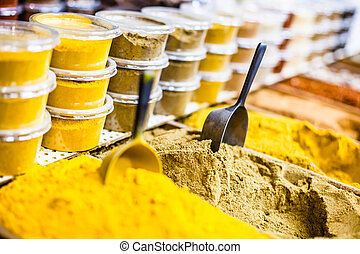 Spices on display in open market in Israel.