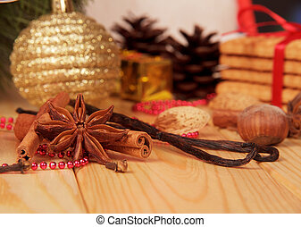 spices on the background of Christmas decorations