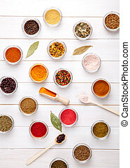 Spices on white wooden background. Food