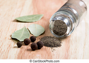 pepper and bay leaves - spices: pepper and bay leaves...