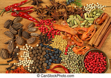 Spices - pepper, aniseed, cinnamon, cardamon and other ingredients