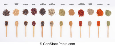 spices row - warious colorful spices on spoons isolated on...