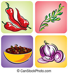 spices set - set of vector images of herbs and spices