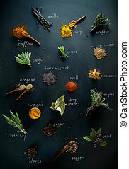 Spices and herbs. Variety of spices and mediterranean herbs....